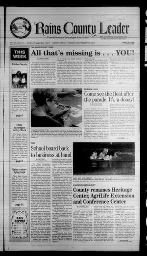 Rains County Leader (Emory, Tex.), Vol. 123, No. 14, Ed. 1 Tuesday, September 15, 2009