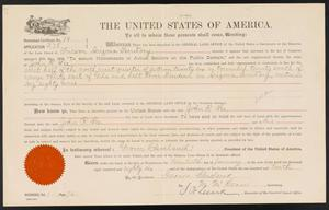 Primary view of object titled '[Land and Water Rights Certificate]'.