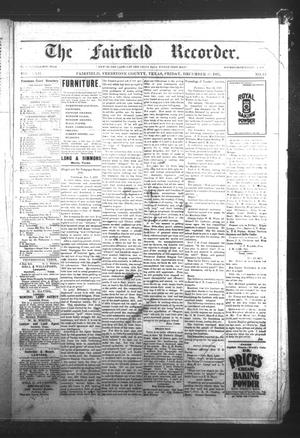Primary view of object titled 'The Fairfield Recorder. (Fairfield, Tex.), Vol. 22, No. 12, Ed. 1 Friday, December 17, 1897'.