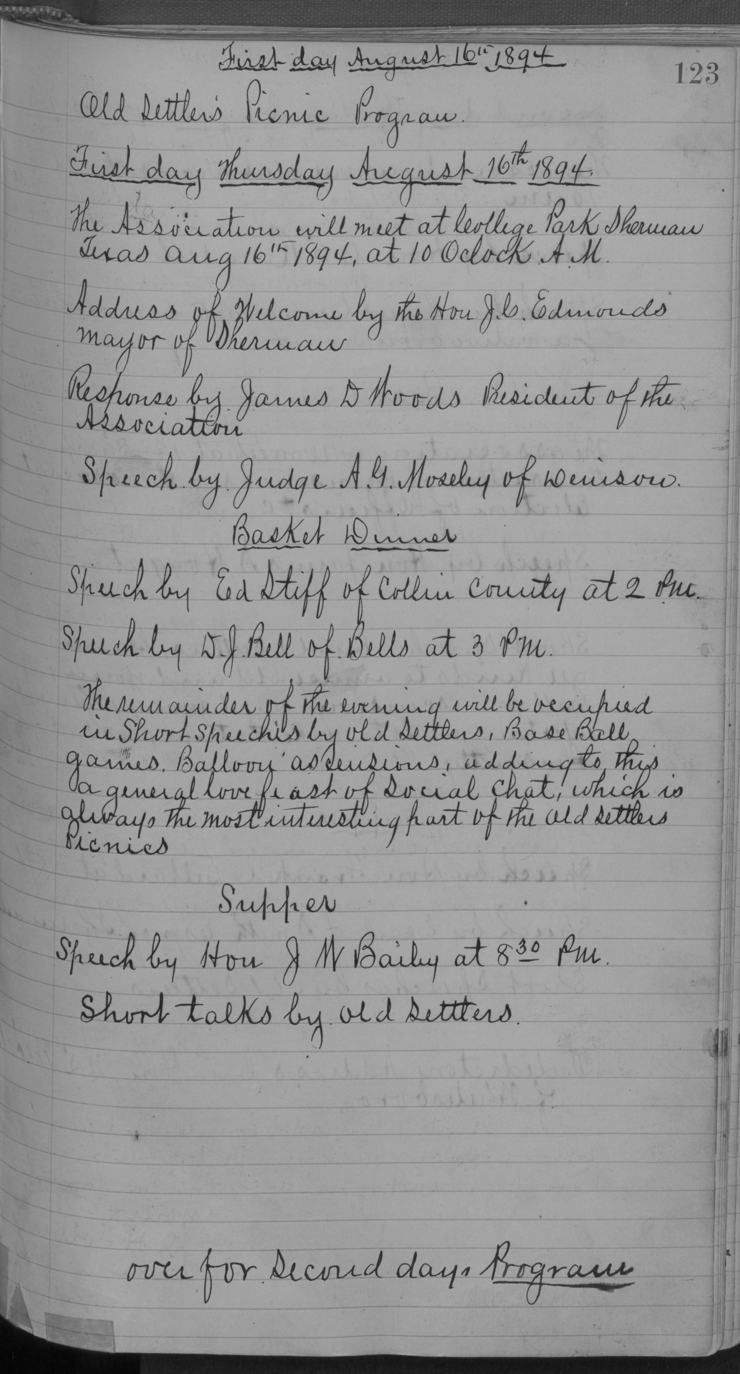 Old Settler's Association of Grayson County, Vol. 1.                                                                                                      [Sequence #]: 123 of 322