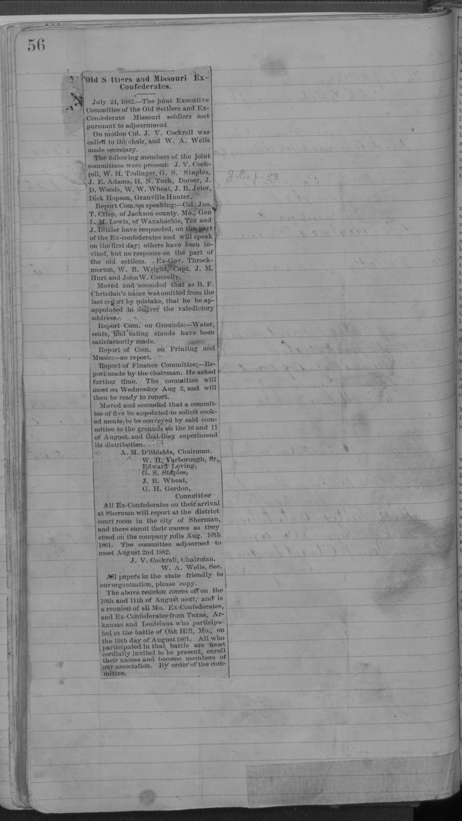 Old Settler's Association of Grayson County, Vol. 1.                                                                                                      [Sequence #]: 56 of 322