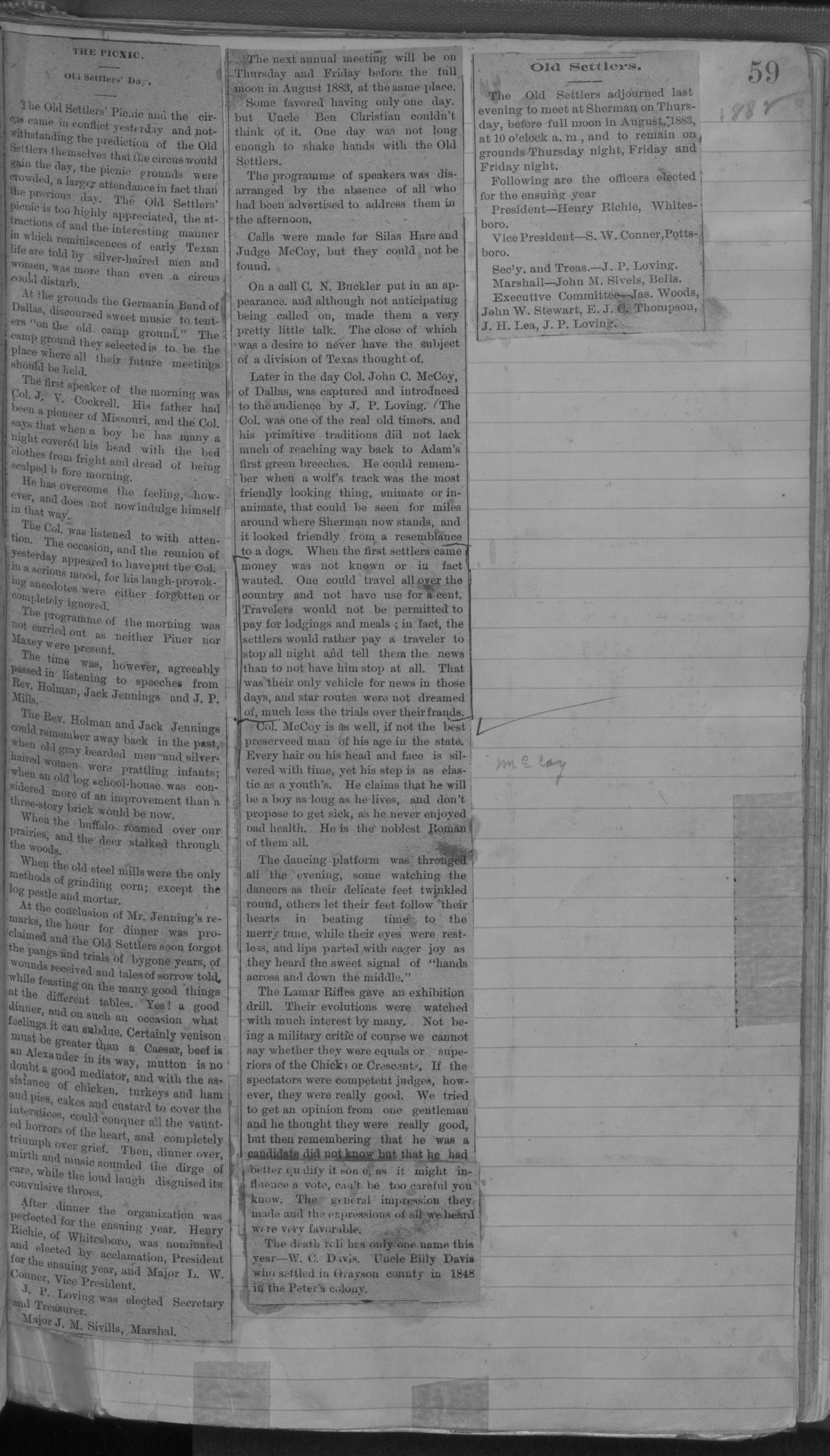 Old Settler's Association of Grayson County, Vol. 1.                                                                                                      [Sequence #]: 59 of 322