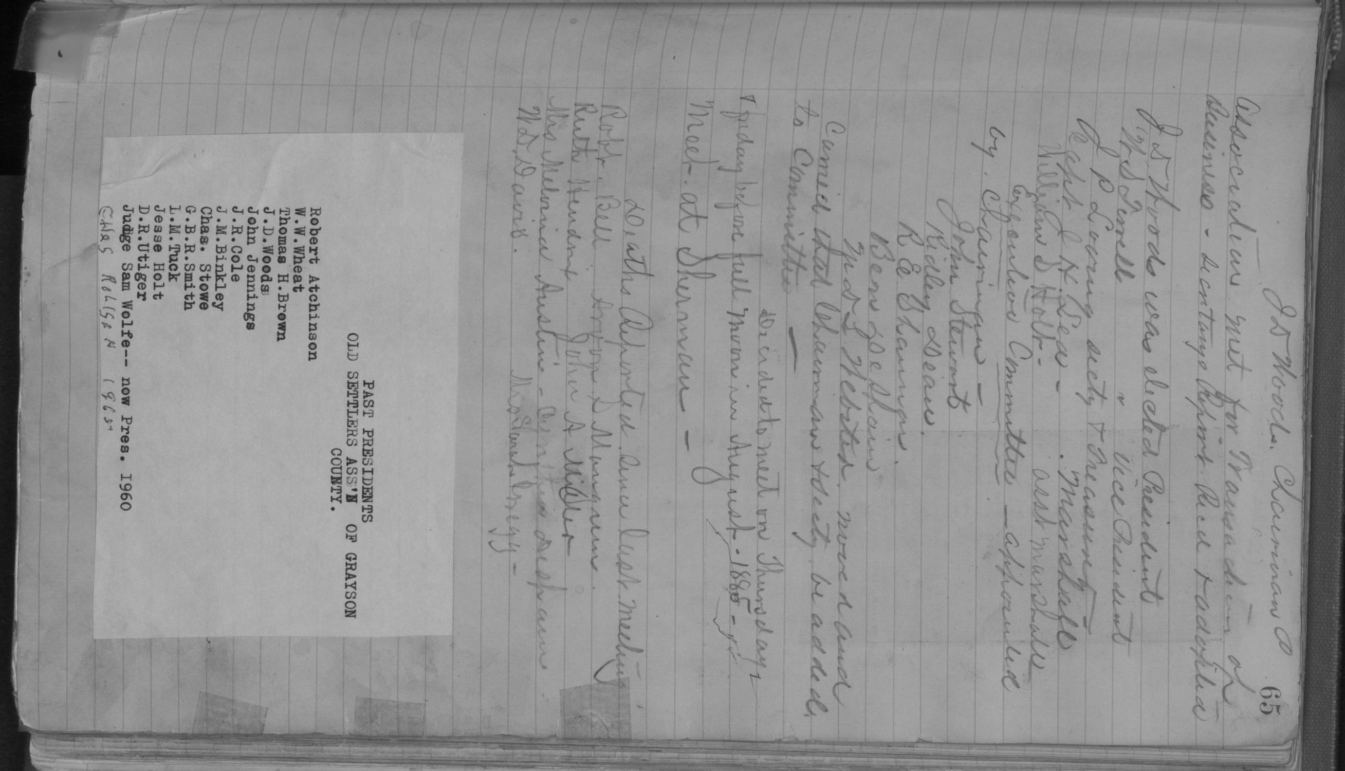 Old Settler's Association of Grayson County, Vol. 1.                                                                                                      [Sequence #]: 65 of 322