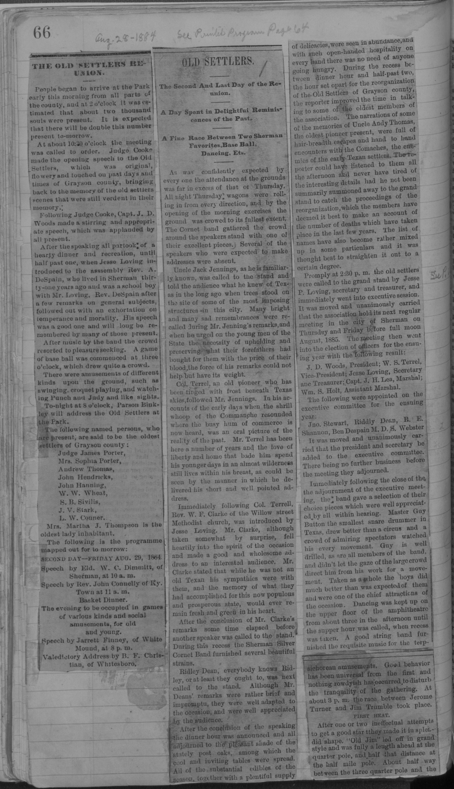 Old Settler's Association of Grayson County, Vol. 1.                                                                                                      [Sequence #]: 66 of 322