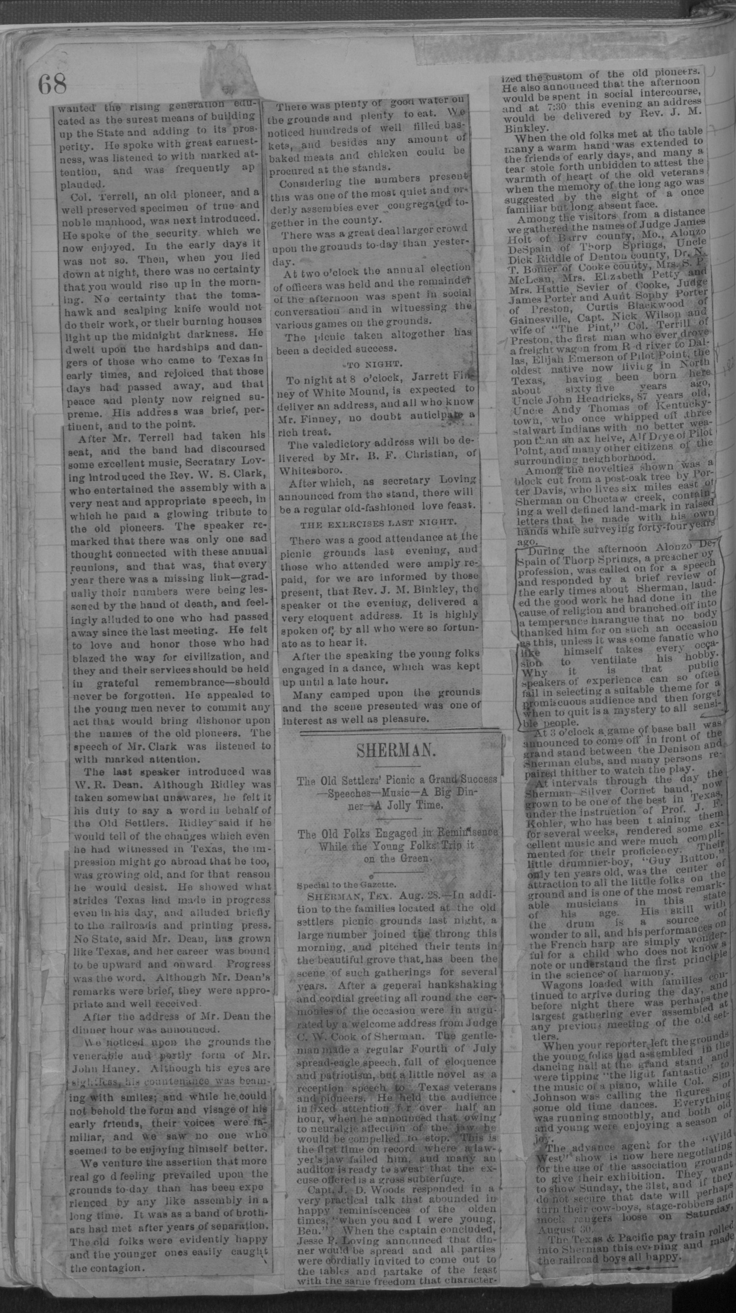 Old Settler's Association of Grayson County, Vol. 1.                                                                                                      [Sequence #]: 68 of 322