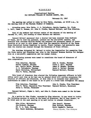[Old Settler's Association of Grayson County Minutes, 1967-1976]