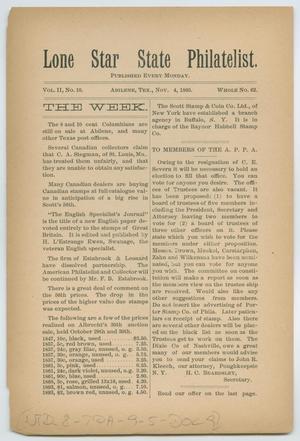 Lone Star State Philatelist, Volume 2, Number 10, November 4, 1895