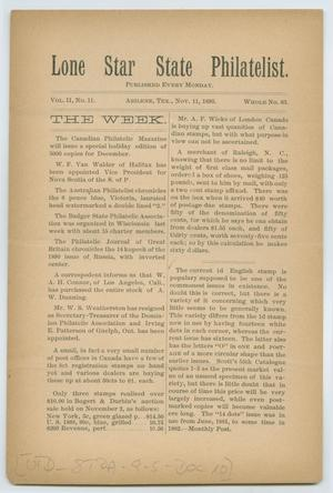Lone Star State Philatelist, Volume 2, Number 11, November 11, 1895