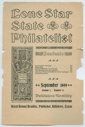 Lone Star State Philatelist, Volume 7, Number 12, September 1899