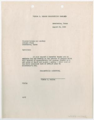 Primary view of object titled '[Letter from Victor J. Nelson to Plosser-Prince Air Academy, August 26, 1942]'.