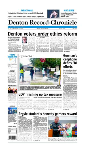Denton Record-Chronicle (Denton, Tex.), Vol. 114, No. 99, Ed. 1 Thursday, November 9, 2017