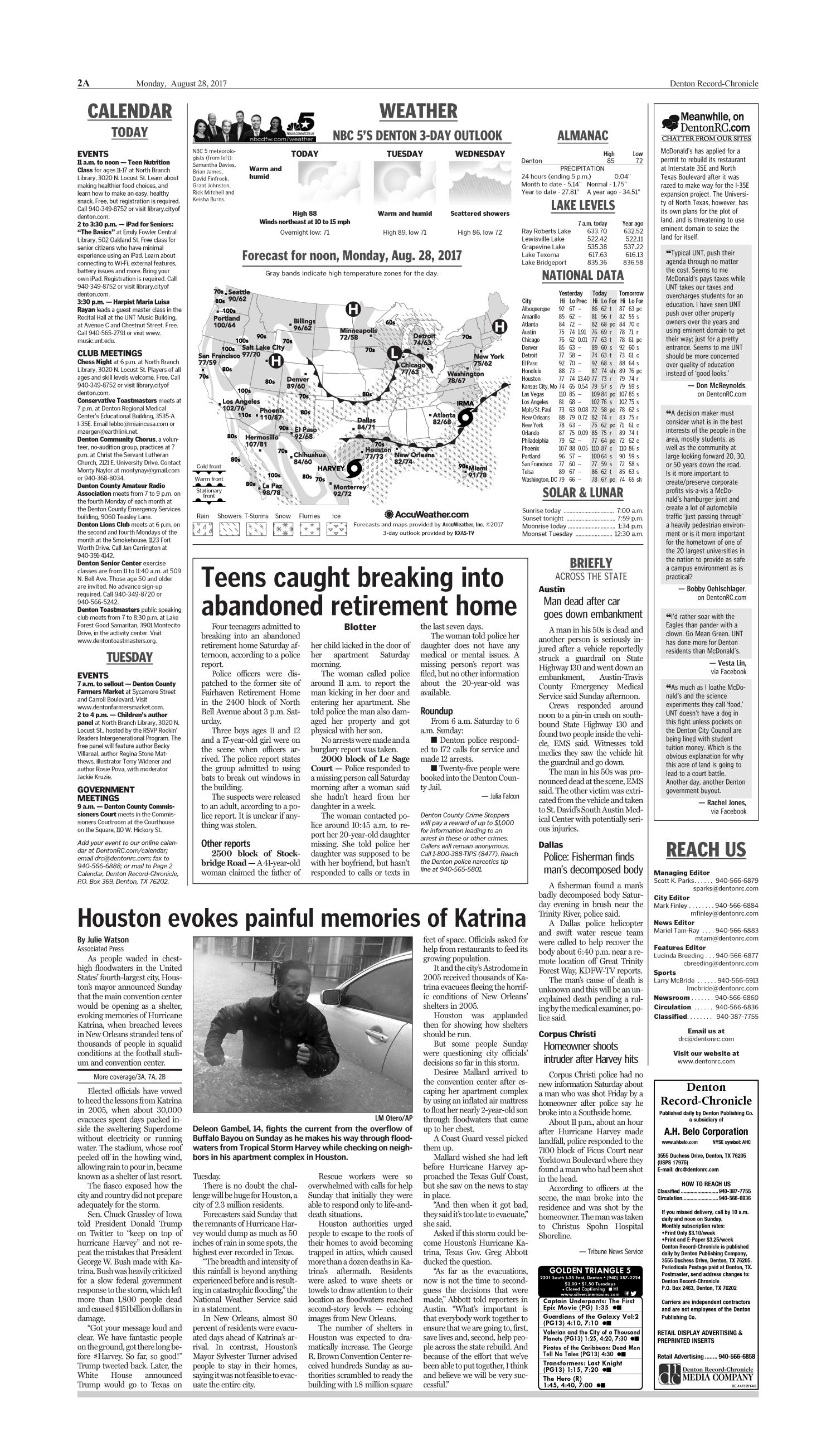 Denton Record-Chronicle (Denton, Tex.), Vol. 114, No. 26, Ed. 1 Monday, August 28, 2017                                                                                                      [Sequence #]: 2 of 16