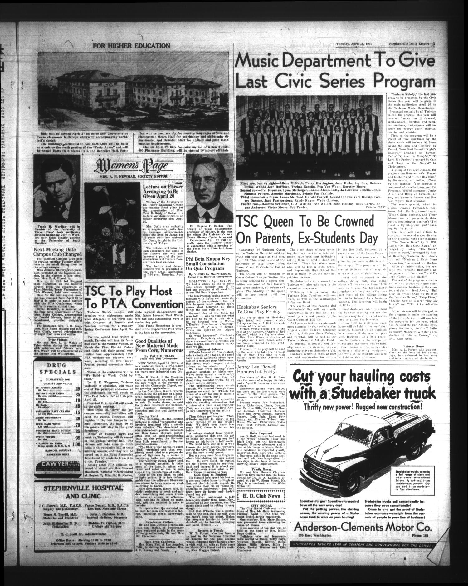 Stephenville Daily Empire (Stephenville, Tex.), Vol. 1, No. 162, Ed. 1 Tuesday, April 18, 1950                                                                                                      [Sequence #]: 3 of 6