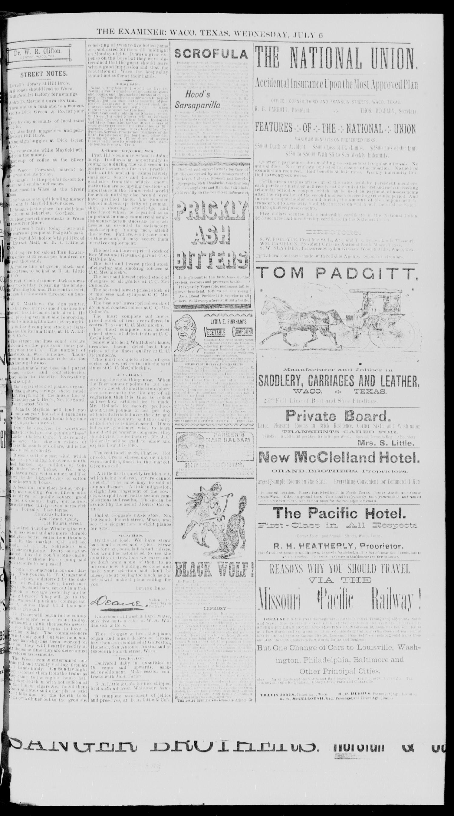 Waco Daily Examiner. (Waco, Tex.), Vol. 20, No. 209, Ed. 1, Wednesday, July 6, 1887                                                                                                      [Sequence #]: 3 of 10
