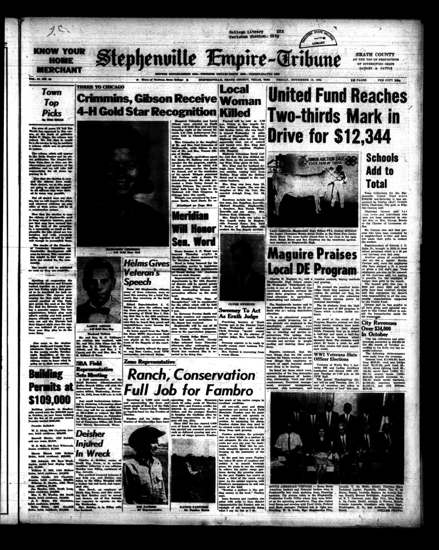 Stephenville Empire-Tribune (Stephenville, Tex.), Vol. 94, No. [48], Ed. 1 Friday, November 13, 1964                                                                                                      [Sequence #]: 1 of 16