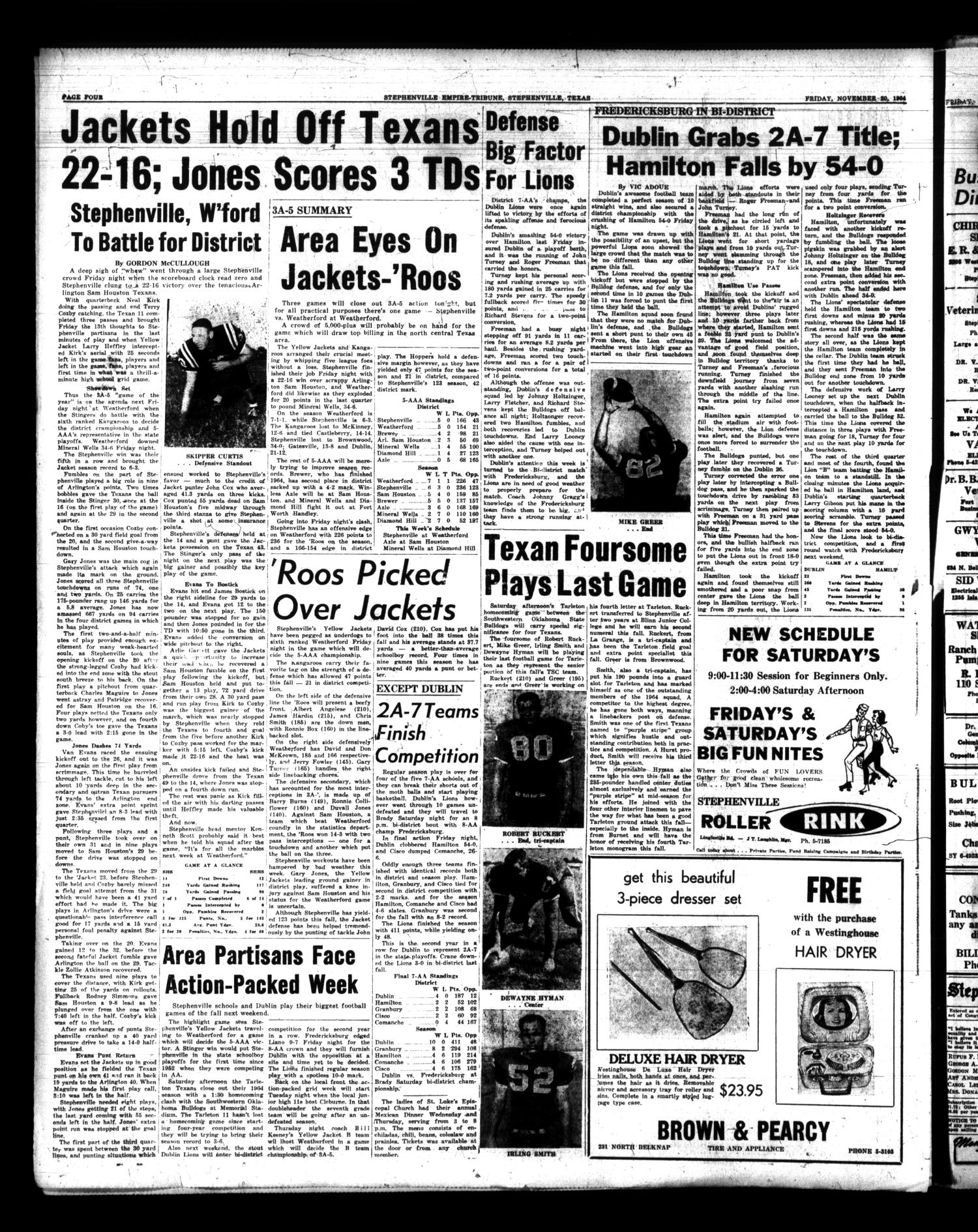 Stephenville Empire-Tribune (Stephenville, Tex.), Vol. 94, No. 49, Ed. 1 Friday, November 20, 1964                                                                                                      [Sequence #]: 4 of 18