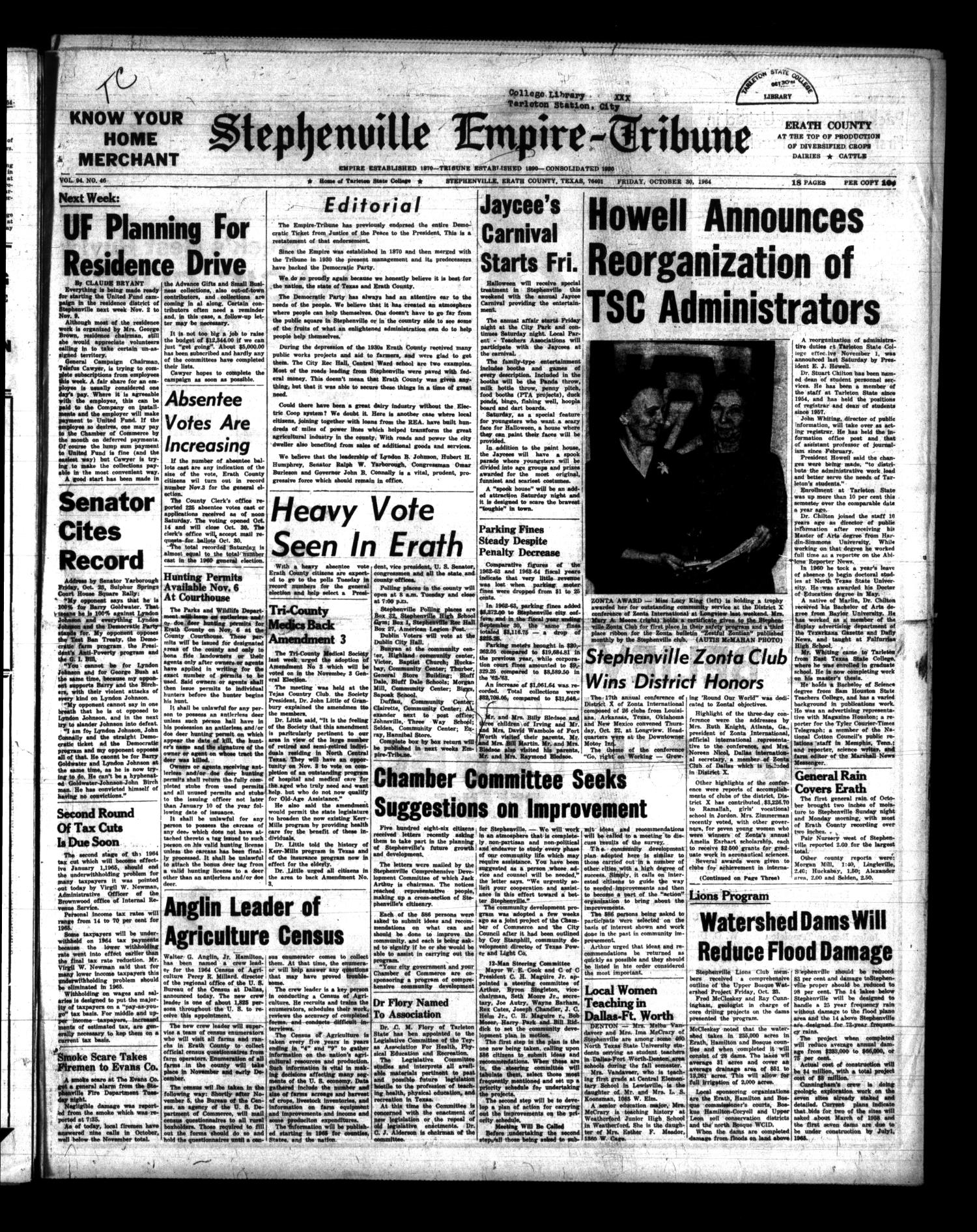 Stephenville Empire-Tribune (Stephenville, Tex.), Vol. 94, No. 46, Ed. 1 Friday, October 30, 1964                                                                                                      [Sequence #]: 1 of 16