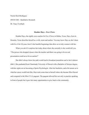 Oral History -- Heather Hays