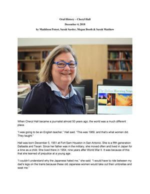 Oral History -- Cheryl Hall