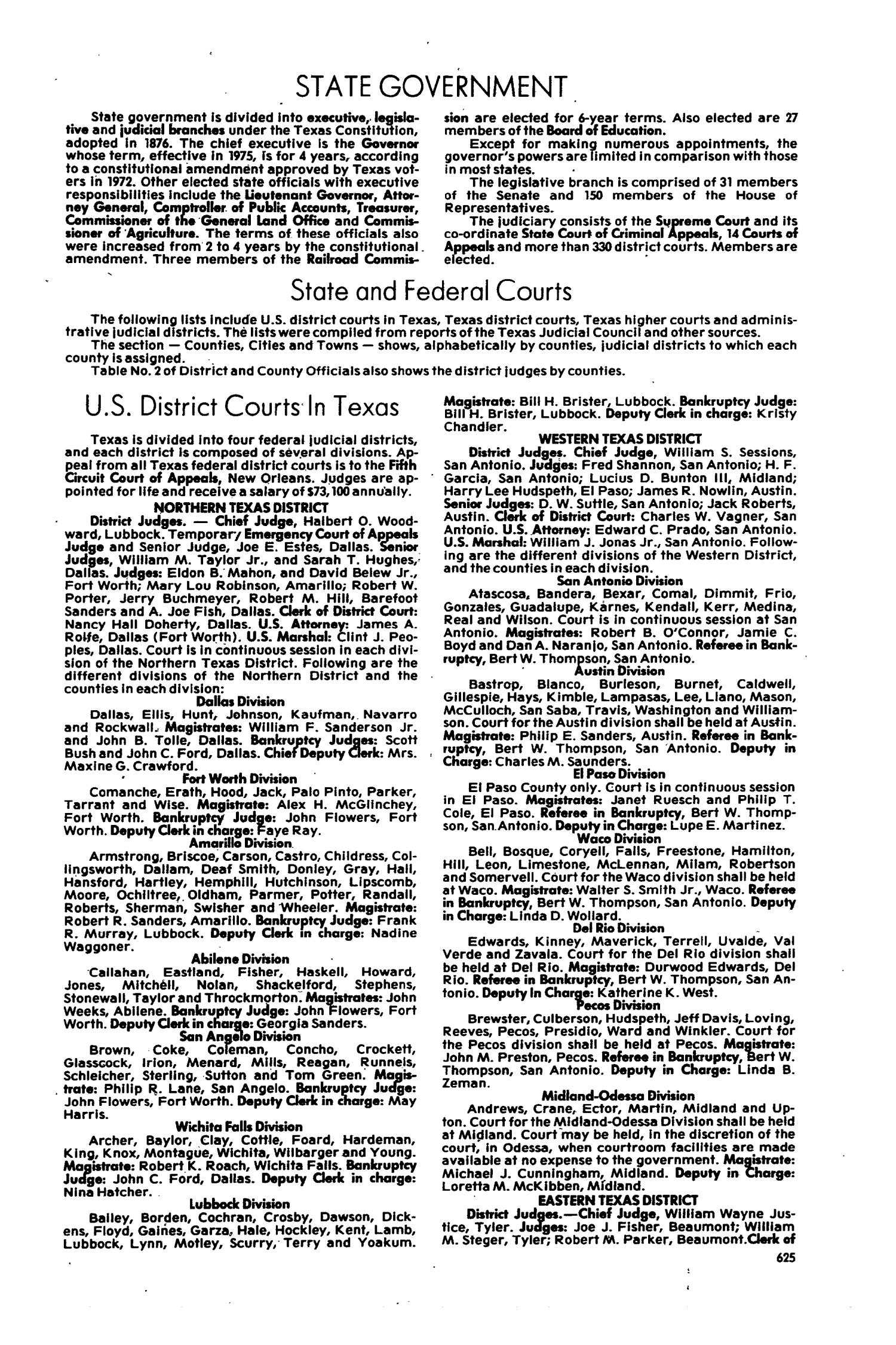 Texas Almanac Page The Portal To Texas History - Almanac of the federal judiciary