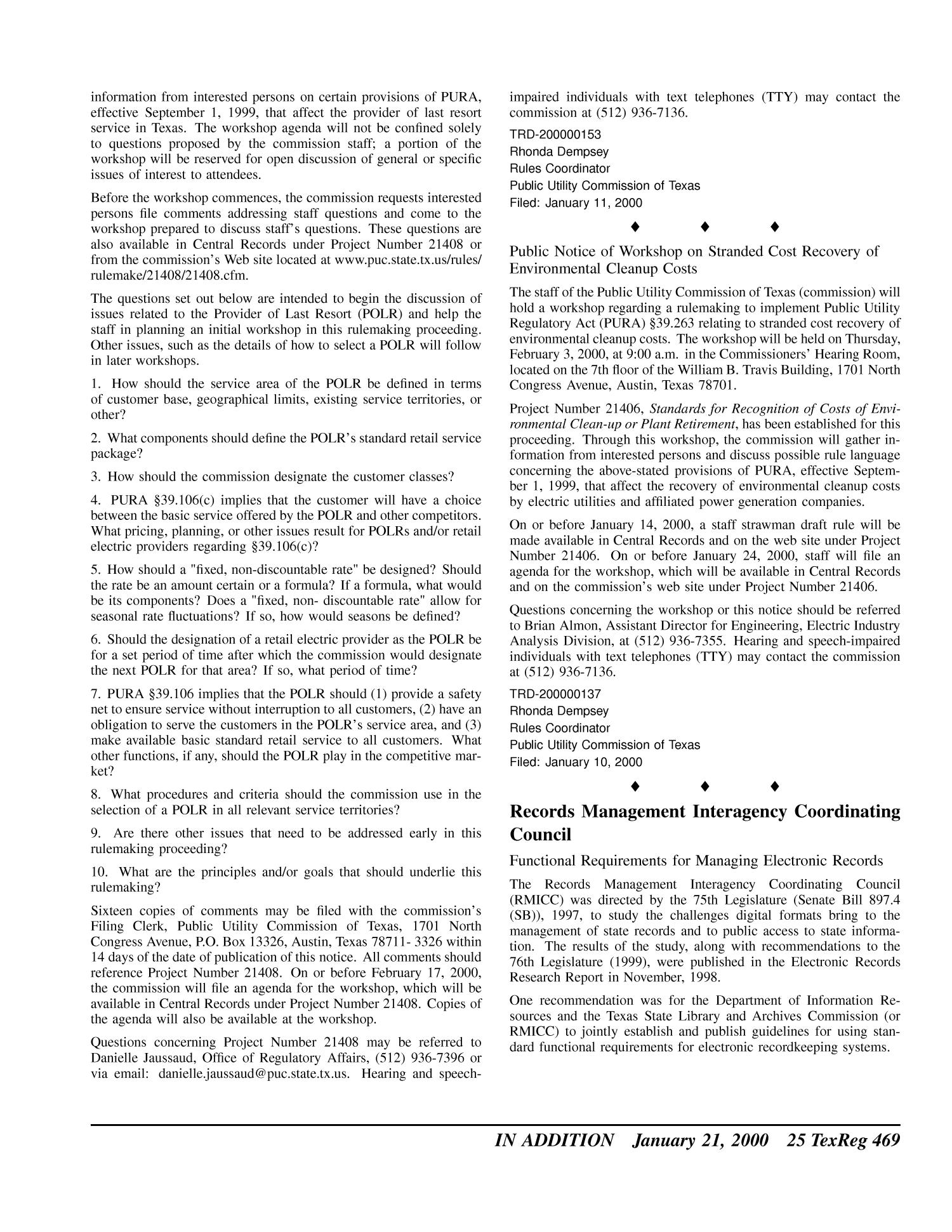 Texas Register, Volume 25, Number 3, Pages 327-475, January