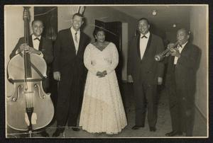 Primary view of object titled 'Bill Yancey (probable), Paul Smith, Ella Fitzgerald, Gus Johnson, and Roy Eldridge'.