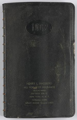 Roy Eldridge's datebook for 1962 through January 1963, Calendar for Roy Eldridge: 1962