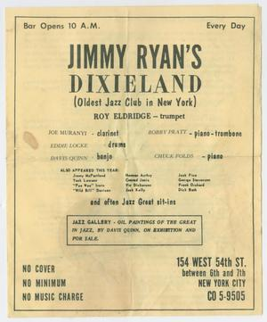 Primary view of object titled 'Advertisement for Roy Eldridge at Jimmy Ryan's Dixieland, New York'.