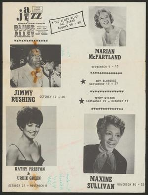 Primary view of object titled 'Advertisement for jazz artists at Blues Alley'.