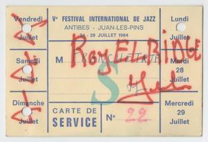 Card from the International Festival de Jazz, Antibes, Juan-les-Pins, July 24-29, 1964