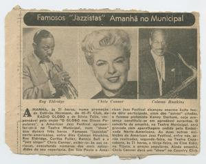 Primary view of Newspaper clipping featuring Roy Eldridge, Chris Connor, and Coleman Hawkins