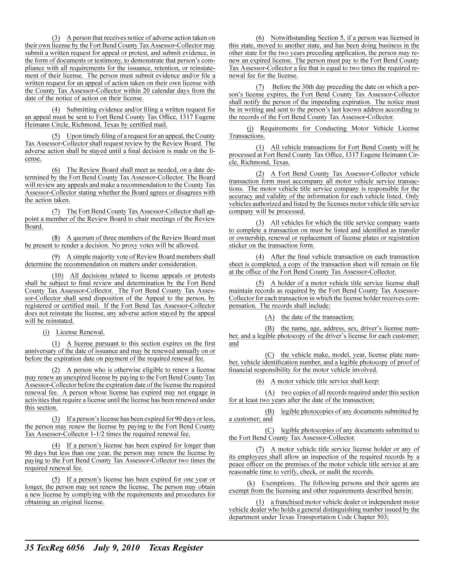 Texas Register, Volume 35, Number 28, Pages 5981-6132, July 9, 2010 - Page 6,056 - The Portal to Texas History
