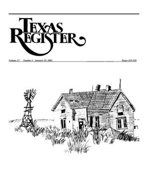 Primary view of object titled 'Texas Register, Volume 27, Number 3, Pages 415-528, January 18, 2002'.