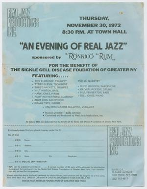 Primary view of object titled 'Advertisement for Roy Eldridge appearing at a benefit concert'.