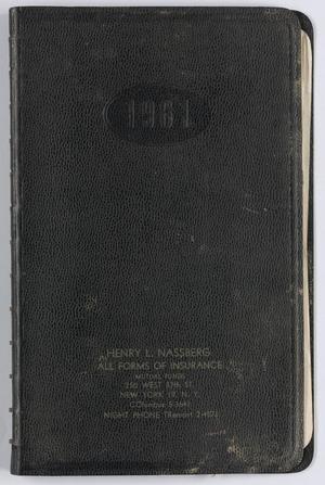 Roy Eldridge's datebook for January through August 16, 1961, Calendar for Roy Eldridge: 1961