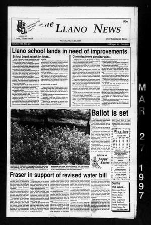 Primary view of object titled 'The Llano News (Llano, Tex.), Vol. 109, No. 24, Ed. 1 Thursday, March 27, 1997'.