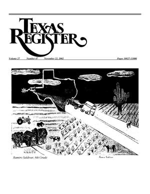Primary view of object titled 'Texas Register, Volume 27, Number 47, Pages 10827-11000, November 22, 2002'.