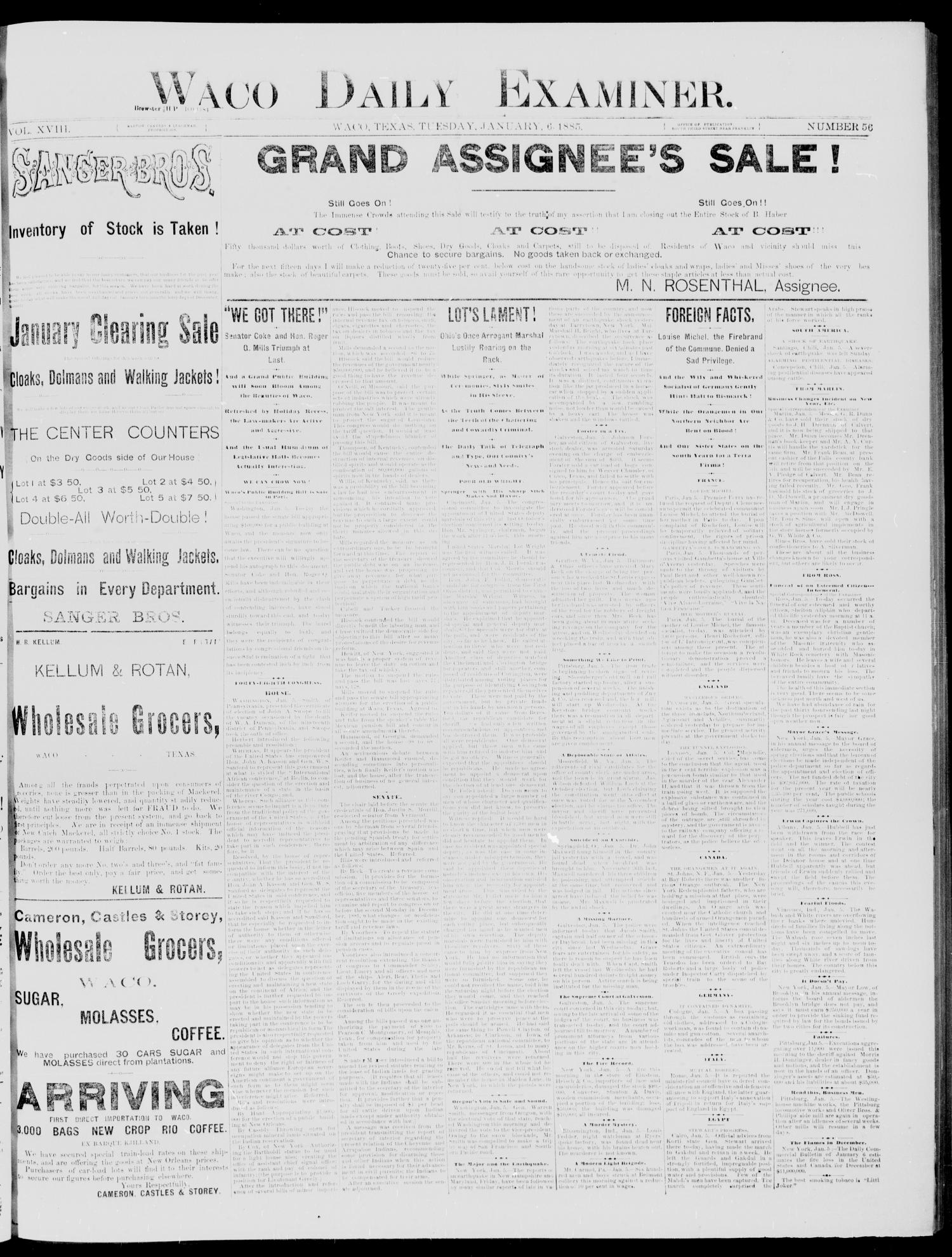 Waco Daily Examiner (Waco, Tex), Vol. 18, No. 56, Ed. 1, Tuesday, January 6, 1885                                                                                                      [Sequence #]: 1 of 4