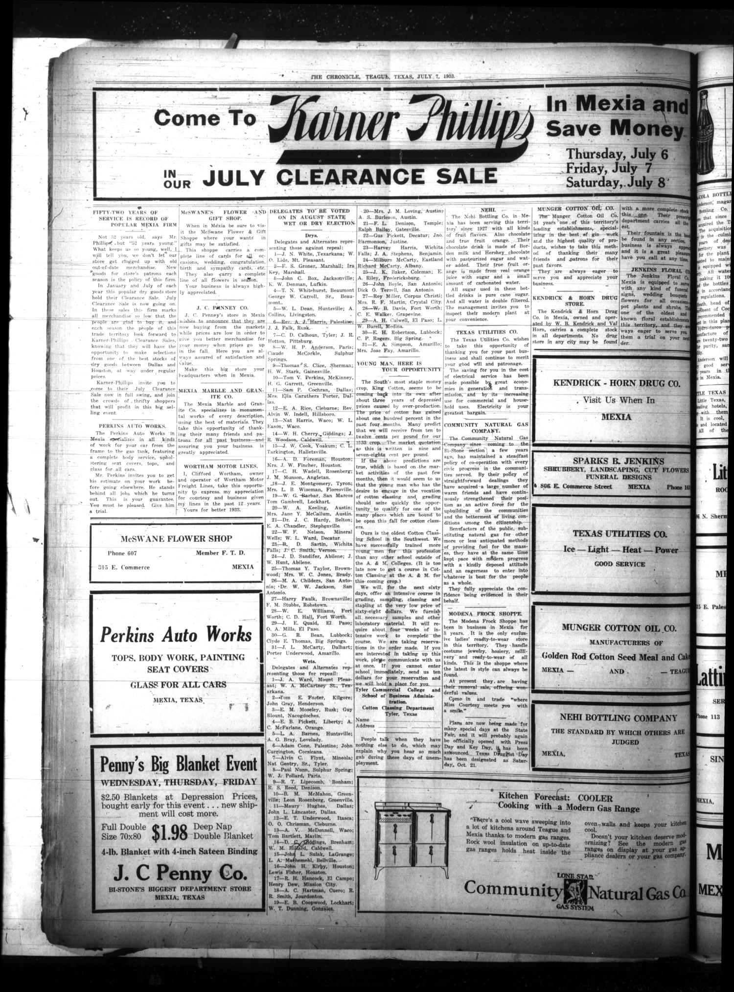 The Teague Chronicle (Teague, Tex.), Vol. 27, No. 49, Ed. 1 Friday, July 7, 1933                                                                                                      [Sequence #]: 4 of 8