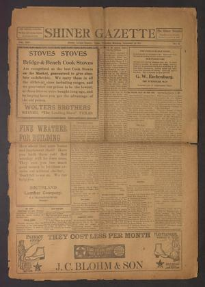 Primary view of Shiner Gazette (Shiner, Tex.), Vol. 25, No. 11, Ed. 1 Thursday, November 29, 1917
