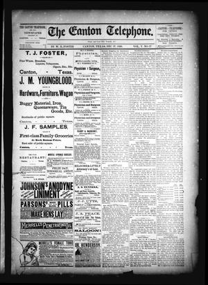 The Canton Telephone. (Canton, Tex.), Vol. 5, No. 27, Ed. 1 Friday, December 17, 1886