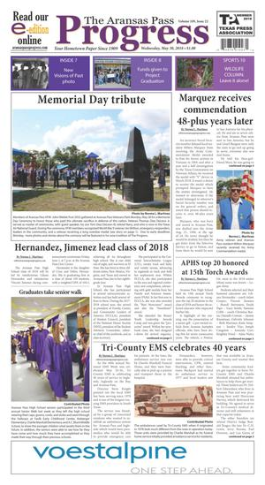 Primary view of The Aransas Pass Progress (Aransas Pass, Tex.), Vol. 109, No. 22, Ed. 1 Wednesday, May 30, 2018