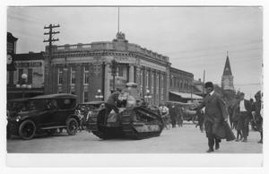 Primary view of object titled '[Tank on Streets of Denton Square]'.