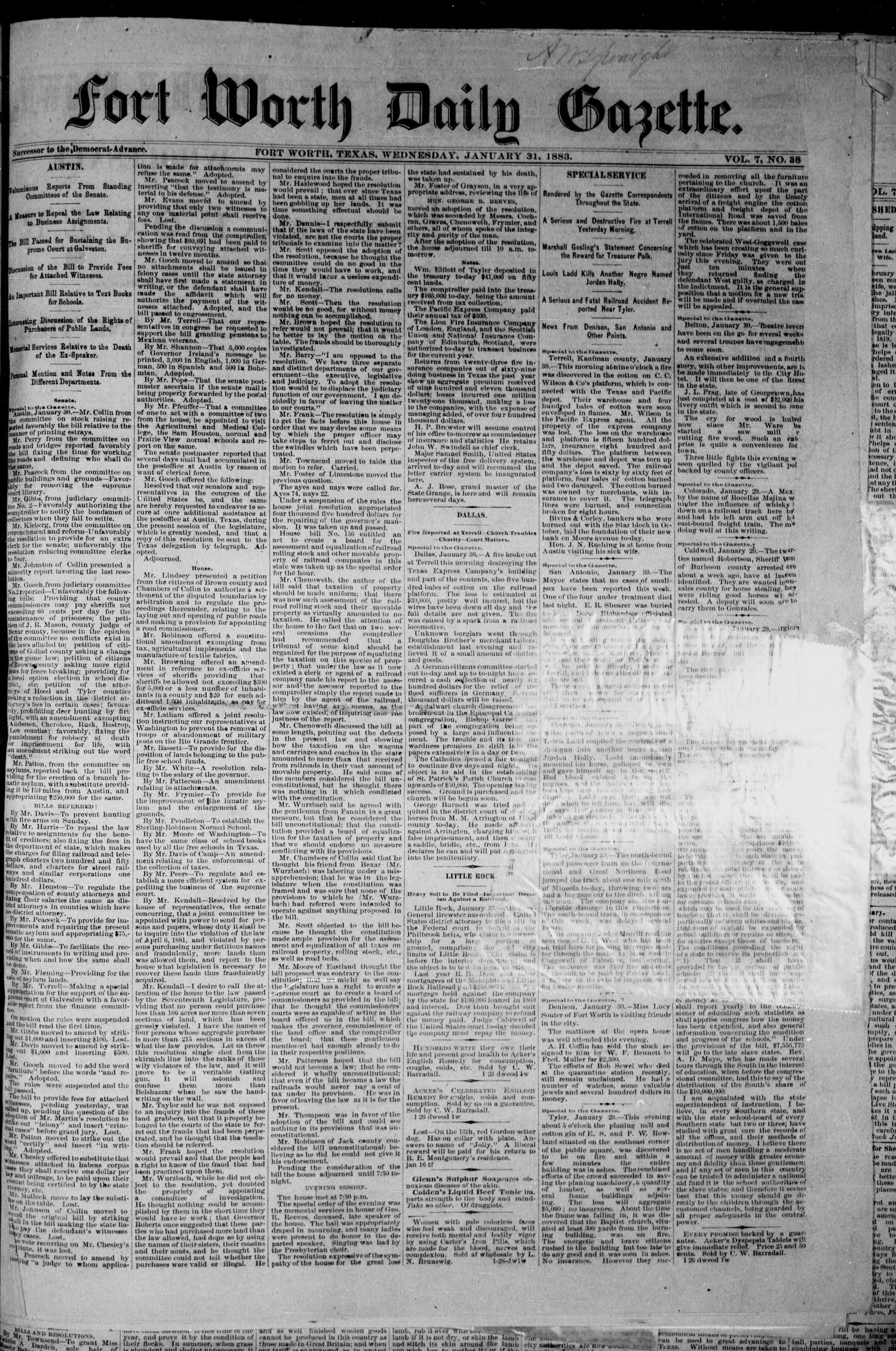 Fort Worth Daily Gazette. (Fort Worth, Tex.), Vol. 7, No. 38, Ed. 1, Wednesday, January 31, 1883                                                                                                      [Sequence #]: 1 of 8