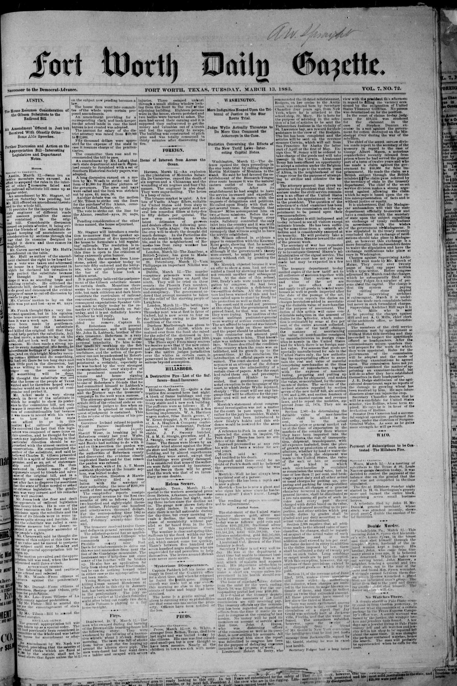 Fort Worth Daily Gazette. (Fort Worth, Tex.), Vol. 7, No. 72, Ed. 1, Tuesday, March 13, 1883                                                                                                      [Sequence #]: 1 of 8