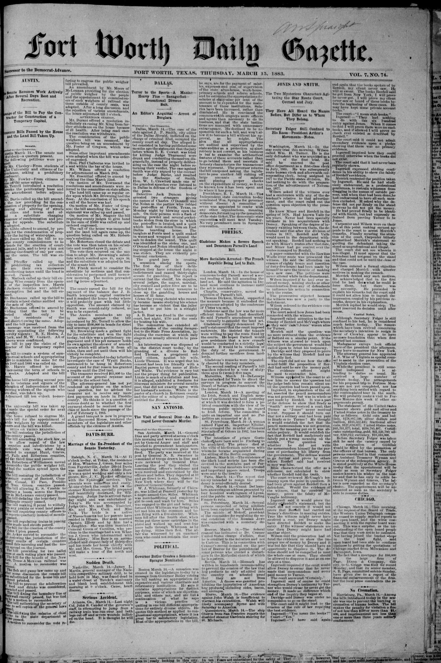 Fort Worth Daily Gazette. (Fort Worth, Tex.), Vol. 7, No. 74, Ed. 1, Thursday, March 15, 1883                                                                                                      [Sequence #]: 1 of 8