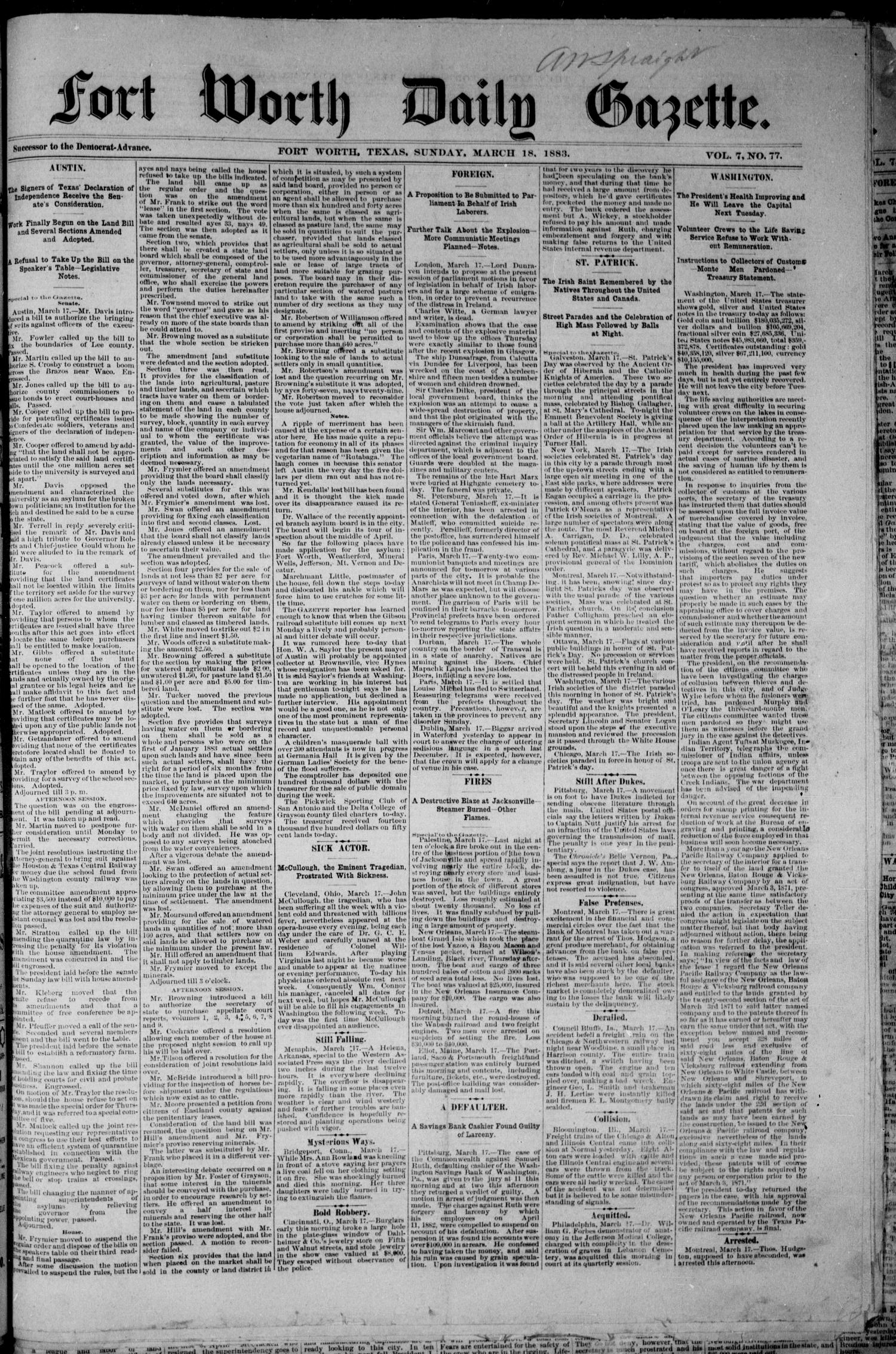 Fort Worth Daily Gazette. (Fort Worth, Tex.), Vol. 7, No. 77, Ed. 1, Sunday, March 18, 1883                                                                                                      [Sequence #]: 1 of 8