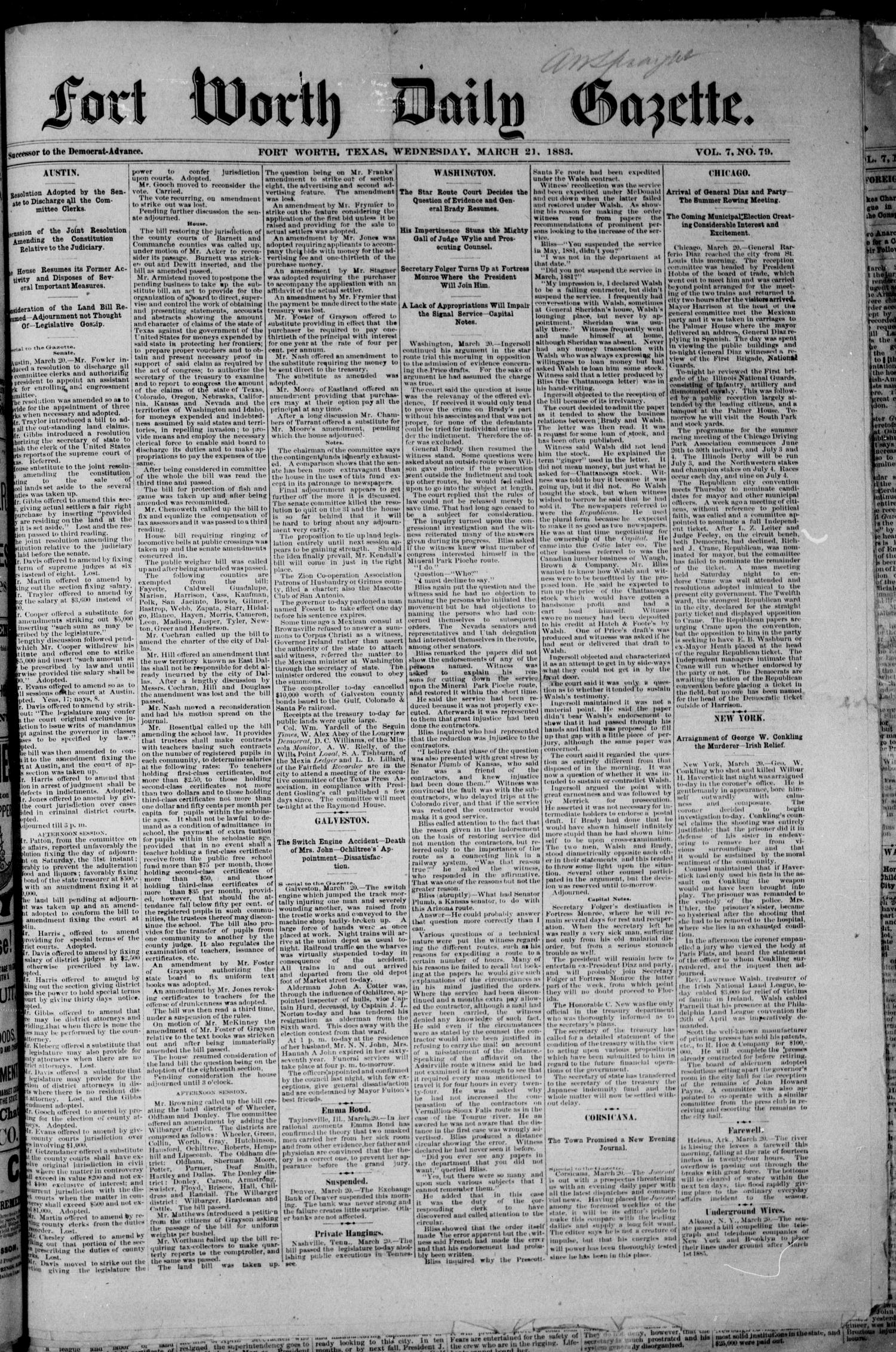 Fort Worth Daily Gazette. (Fort Worth, Tex.), Vol. 7, No. 79, Ed. 1, Wednesday, March 21, 1883                                                                                                      [Sequence #]: 1 of 8