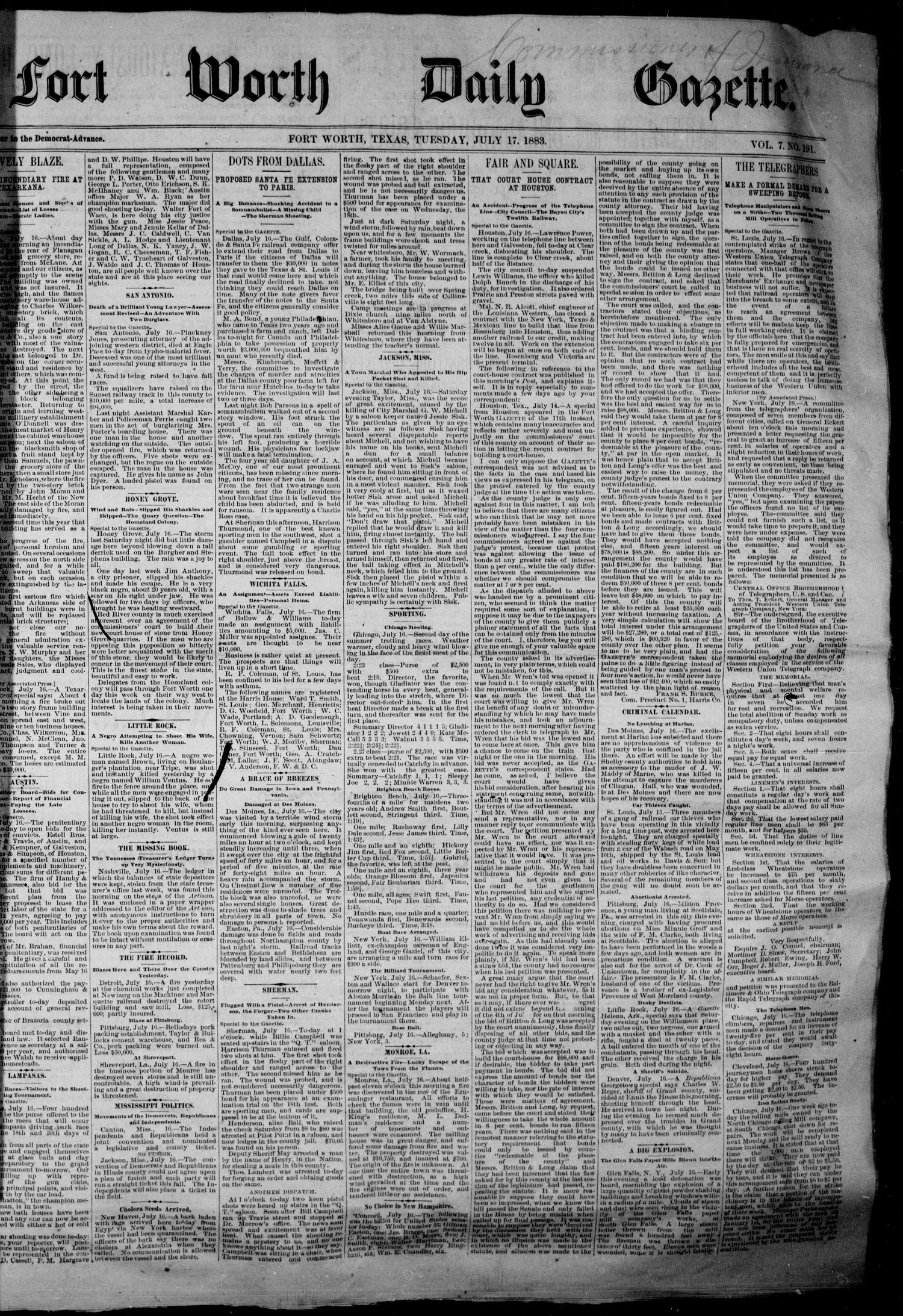 Fort Worth Daily Gazette. (Fort Worth, Tex.), Vol. 7, No. 191, Ed. 1, Tuesday, July 17, 1883                                                                                                      [Sequence #]: 1 of 8