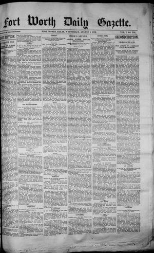 Primary view of object titled 'Fort Worth Daily Gazette. (Fort Worth, Tex.), Vol. 7, No. 206, Ed. 1, Wednesday, August 1, 1883'.